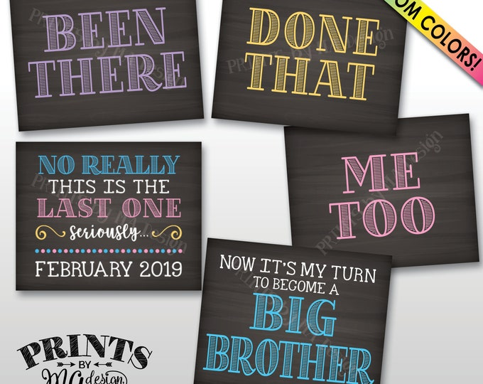 5th Baby Pregnancy Announcement Signs, Been There Done That Me Too My Turn to be a Big Brother, Last One, 5 Chalkboard Style PRINTABLE Signs
