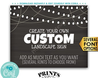 "Custom Chalkboard Style Poster with Lights, Choose Your Text, One PRINTABLE 8x10/16x20"" Landscape Sign <Edit Yourself with Corjl>"