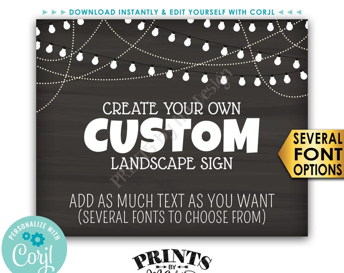 """Custom Chalkboard Style Poster with Lights, Choose Your Text, One PRINTABLE 8x10/16x20"""" Landscape Sign <Edit Yourself with Corjl>"""