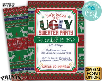 "Ugly Sweater Party Invitation, Tacky Sweater X-mas Celebration, Xmas Party, PRINTABLE 5x7"" Ugly Sweater Invite <Edit Yourself with Corjl>"