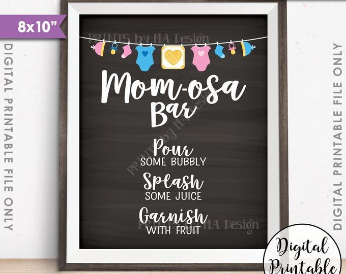 "Mom-osa Bar Sign, MOMosa Sign, Mimosa Baby Shower, Make a Mimosa, pink & blue, Neutral, 8x10"" Chalkboard Style Printable Instant Download"