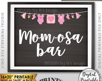 """Mimosa Bar Sign, MOMosa Sign, Make a Mimosa Drink, Mom-osa Baby Shower Decoration, Instant Download 8x10/16x20"""" Chalkboard Style Printable"""