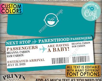 "Editable Boarding Pass Pregnancy Announcement, Baby Airline Ticket, Custom PRINTABLE 8.5x11"" Digital File <Edit Yourself w/Corjl>"