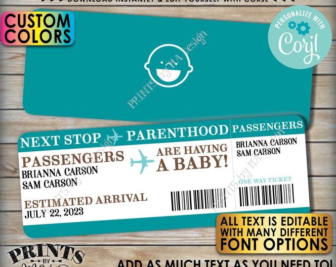 "Editable Boardign Pass Pregnancy Announcement, Baby Airline Ticket, Custom PRINTABLE 8.5x11"" Digital File <Edit Yourself w/Corjl>"