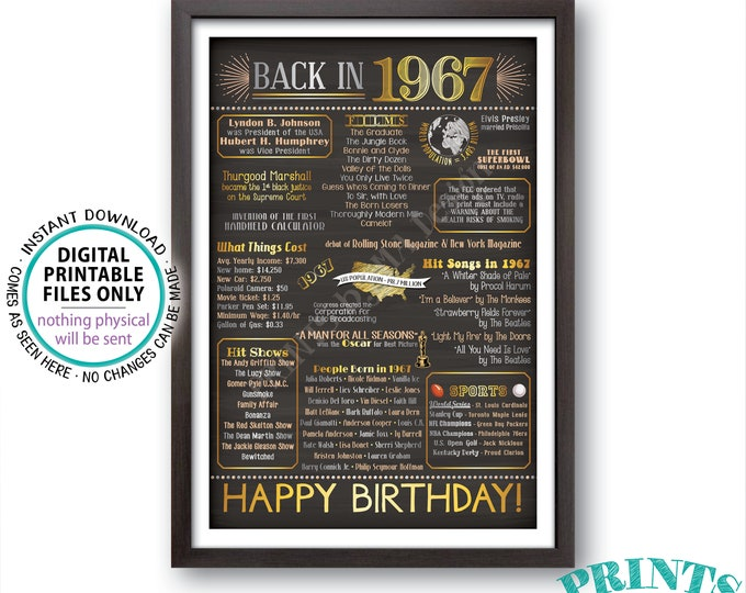 "1967 Birthday Poster, Born in 1967 Flashback to 1967 USA History Back in 1967 Flashback 1967, PRINTABLE 20x30"" Sign <ID>"