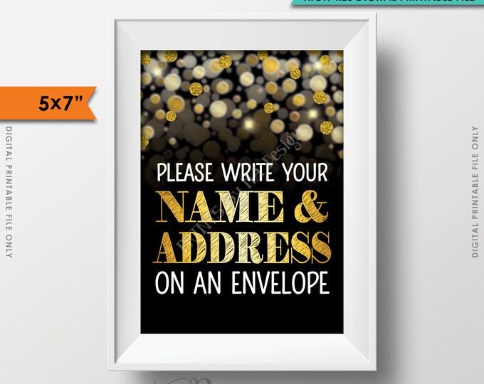 "Address an Envelope Sign, Addressee, Name & Address Birthday Anniversary Retirement Graduation, Black/Gold Glitter PRINTABLE 5x7"" Sign <ID>"