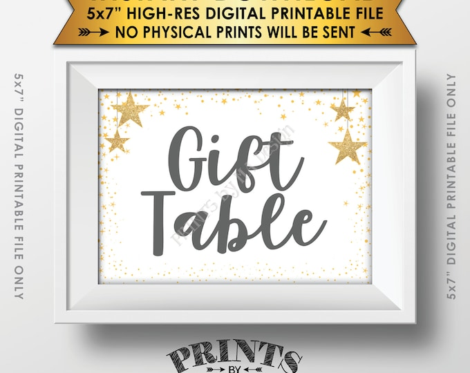 "Gift Table Baby Shower Sign, Cards & Gifts Sign Gray Text Baby Shower Decor Gold Glitter Twinkle Stars, Instant Download 5x7"" Printable Sign"