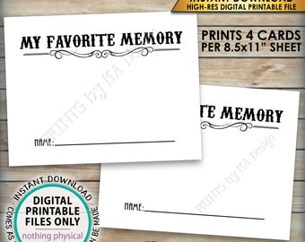 "Share a Memory Card, Share Memories, Write Your Favorite Memory, Whiskey Birthday Party Activity, Aged, PRINTABLE 8.5x11"" Digital File <ID>"