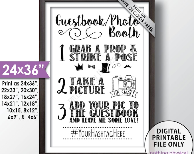 """Guestbook Photobooth Sign, Add photo to My Guestbook, My Hashtag Sign, Photo Guest Book Sign, Graduation, Birthday, PRINTABLE 24x36"""" Sign"""