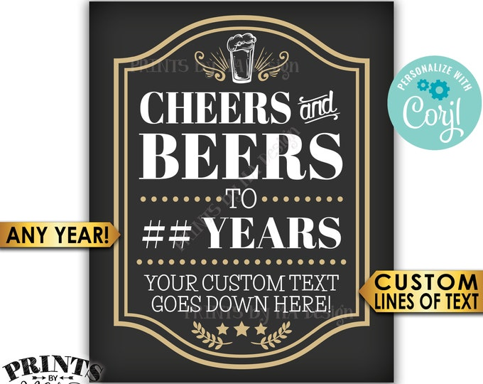"Cheers and Beers Sign,Cheers to Years, Custom Text, Birthday or Retirement, PRINTABLE 8x10/16x20"" Party Sign <Edit Yourself with Corjl>"