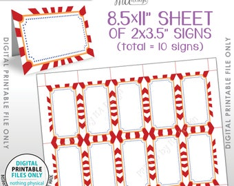 """Carnival Theme Labels, Food Labels, Buffet Place Cards, Table Tent Menu Labels, Circus Theme Birthday Party, PRINTABLE 8.5x11"""" Sheet <ID>"""