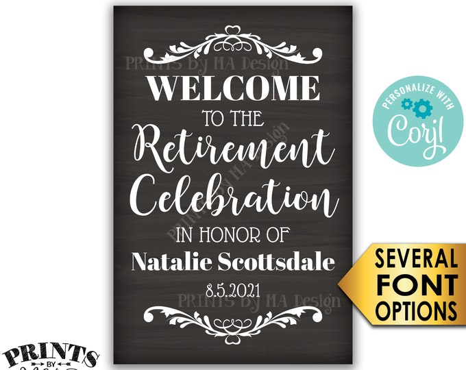"Retirement Party Sign, Welcome to the Retirement Celebration, PRINTABLE Chalkboard Style 24x36"" Sign <Edit Yourself with Corjl>"