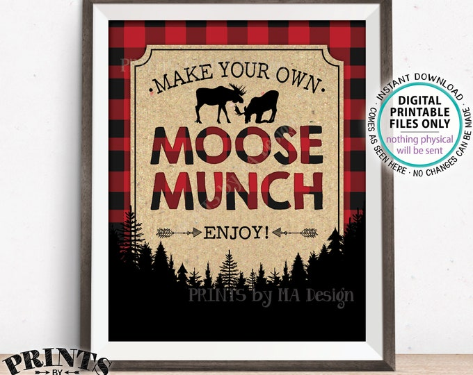 "Moose Munch Sign, Make Your Own Moose Munch Lumberjack Style Snack Mix Sign, Red Checker Buffalo Plaid Woodland, PRINTABLE 8x10"" Sign <ID>"