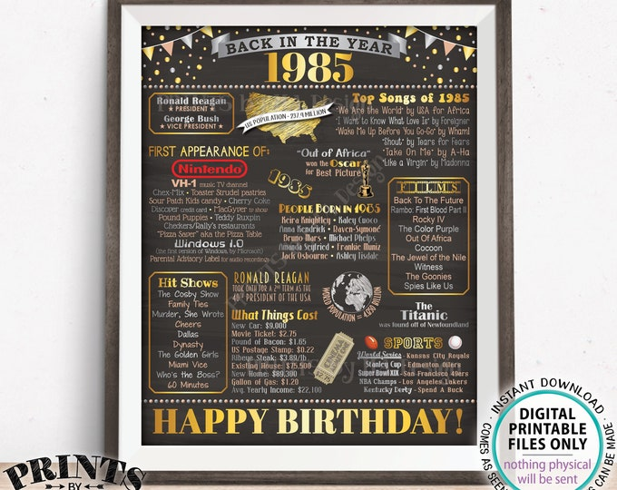 """Back in the Year 1985 Birthday Sign, Flashback to 1985 Poster Board, '85 B-day Gift, Bday Decoration, PRINTABLE 16x20"""" 1985 Sign <ID>"""