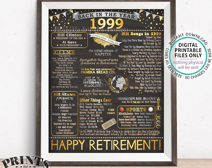 "Back in 1999 Poster Board Retirement Party Decorations, Flashback to 1999 Retirement Party, PRINTABLE 16x20"" '99 Sign <ID>"