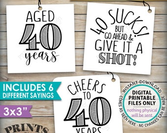 """40th Birthday Party Signs, Alcohol Themed 40th B-day, Aged to Perfection Take a Shot, PRINTABLE Square 3x3"""" tags on 8.5x11"""" Instant Download"""