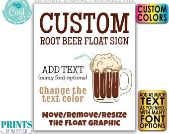 """Custom Ice Cream Float Sign, Root Beer Float, Choose Your Text, Create One Custom PRINTABLE 8x10/16x20"""" Drink Sign <Edit Yourself w/Corjl>"""