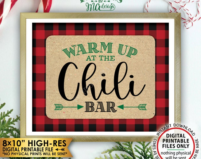 "Warm Up at the Chili Bar Sign, Lumberjack Chili Sign, Chili Buffet Sign, Red Check Christmas Decor, Green, PRINTABLE 8x10"" Instant Download"