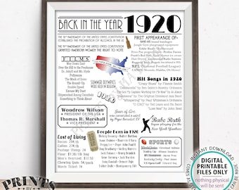 """Back in the Year 1920 Poster Board, Remember 1920 Sign, Flashback to 1920 USA History from 1920, PRINTABLE 16x20"""" 1920 Sign <ID>"""