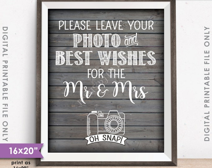 """Guestbook Photo Sign, Leave Photo and Best Wishes for the Mr & Mrs Rustic Wood Style 16x20"""" or 8x10"""" Instant Download Digital Printable File"""