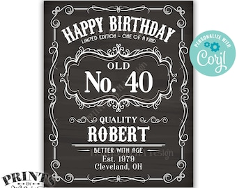 "Happy Birthday Vintage Whiskey Themed Birthday Poster, Better with Age, PRINTABLE 16x20"" Chalkboard Style Sign <Edit Yourself with Corjl>"