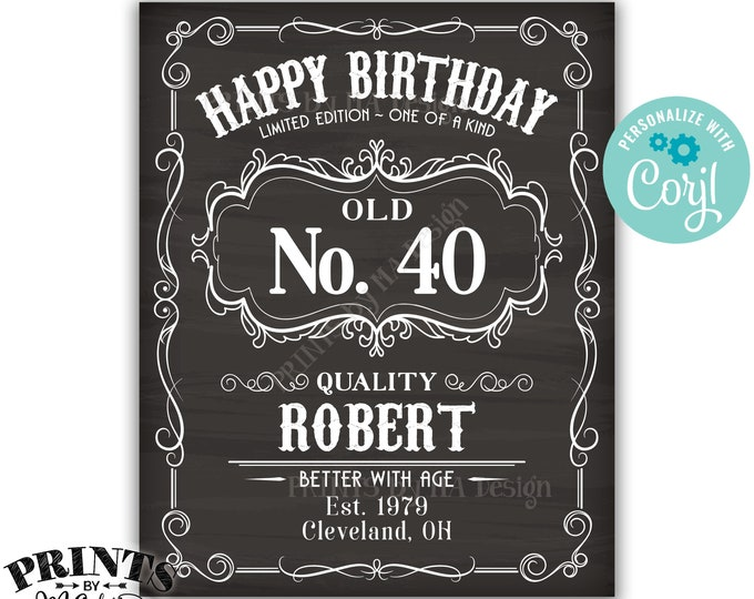 """Happy Birthday Vintage Whiskey Themed Birthday Poster, Better with Age, PRINTABLE 16x20"""" Chalkboard Style Sign <Edit Yourself with Corjl>"""