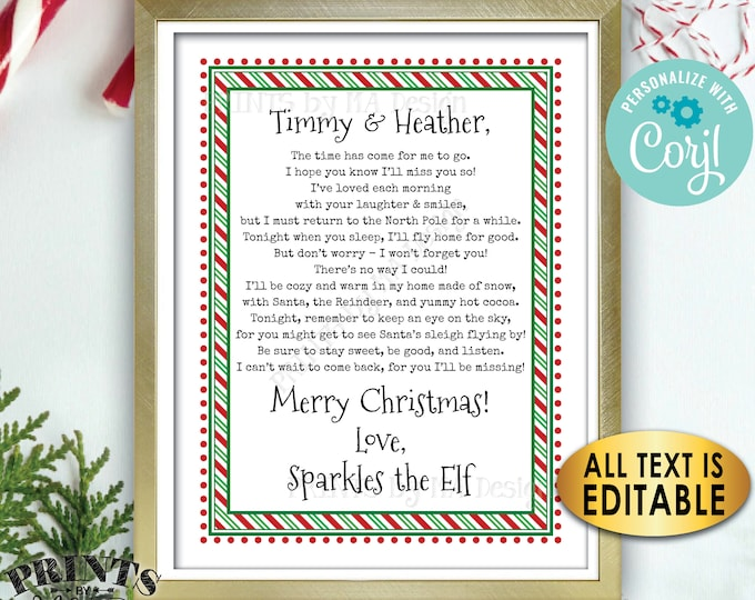 "Christmas Elf Goodbye Letter to Kids, Bye Magic Elf Farewell Note, One Custom PRINTABLE 8.5x11"" Digital File <Edit Yourself with Corjl>"