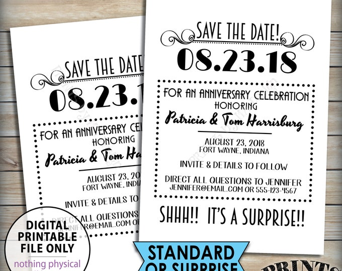 """Save the Date for an Anniversary Party, Standard or Surprise Save the Date Matches Flashback Invitations, PRINTABLE 5x7"""" Save The Date Anniv"""