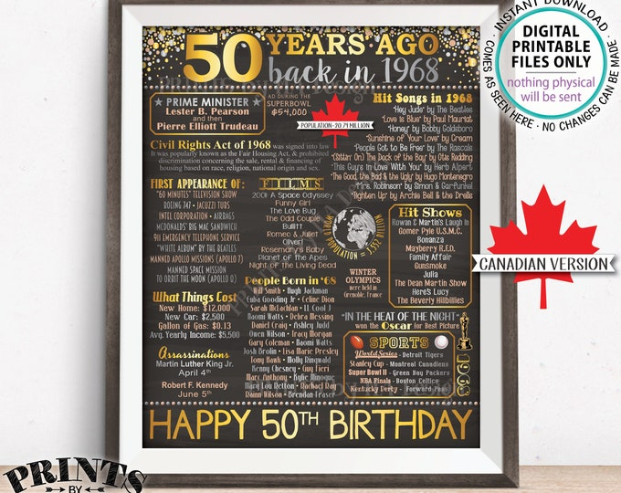 "Canadian 1968 Birthday Poster, CANADA 50th Birthday Gift, Back in 1968 Flashback 50 Years Ago, Chalkboard Style PRINTABLE 8x10/16x20"" <ID>"