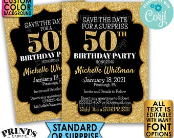 "Gold Glitter Birthday Party Save the Date, Surprise or Standard Invite, Custom PRINTABLE 5x7"" Digital File <Edit Yourself with Corjl>"