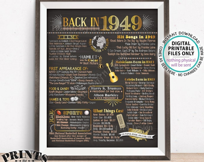 "Back in 1949 Poster Board, Remember 1949 Sign, Flashback to 1949 USA History from 1949, PRINTABLE 16x20"" Sign <ID>"