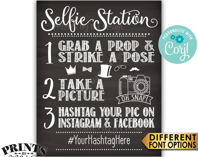 """Selfie Station Sign, Share on Instagram & Facebook, PRINTABLE 8x10/16x20"""" Chalkboard Style Hashtag Sign <Edit Yourself with Corjl>"""
