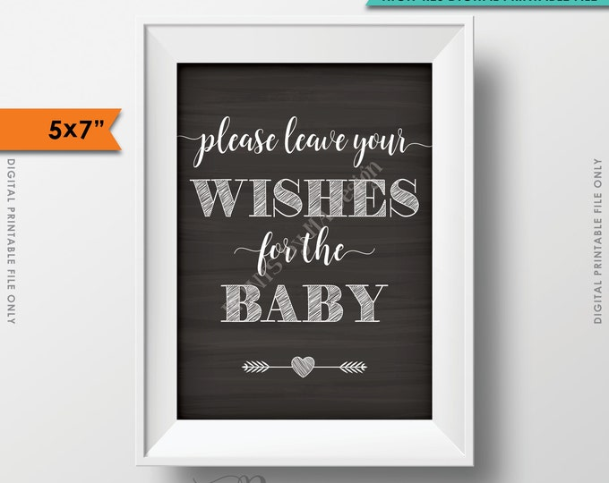 """Wishes for Baby Printable Sign, Baby Shower Sign, Please Leave your Wishes for the Baby Chalkboard 5x7"""" Instant Download Digital Printable"""