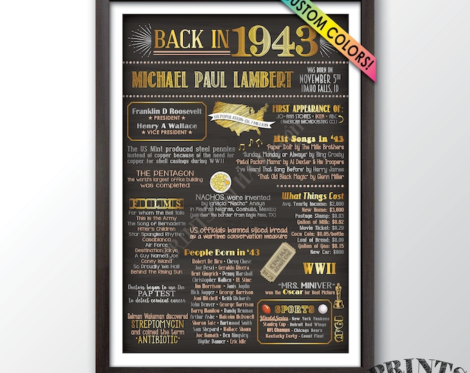"1943 Birthday Flashback Poster, Remember 1943 Poster, Birthday Party Decor, Custom Chalkboard Style PRINTABLE 24x36"" Back in 1943 B-day Sign"