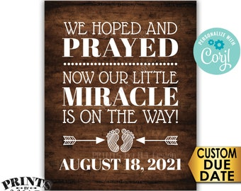 "Pregnancy Announcement, We Hoped and Prayed Our Little Miracle is on the Way, PRINTABLE 8x10/16x20"" Reveal Sign <Edit Yourself with Corjl>"