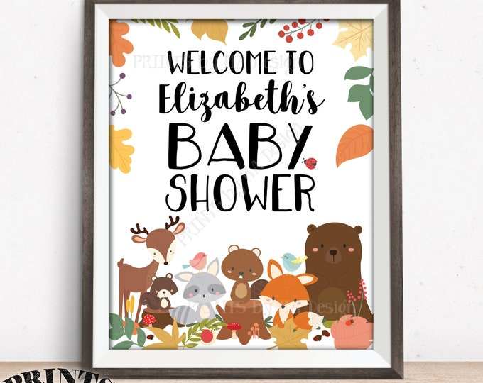 """Woodland Baby Shower Welcome Sign, Woodland Animals, Baby Forest Animals Welcome Poster, Custom PRINTABLE 8x10/16x20"""" Baby Shower Decor"""
