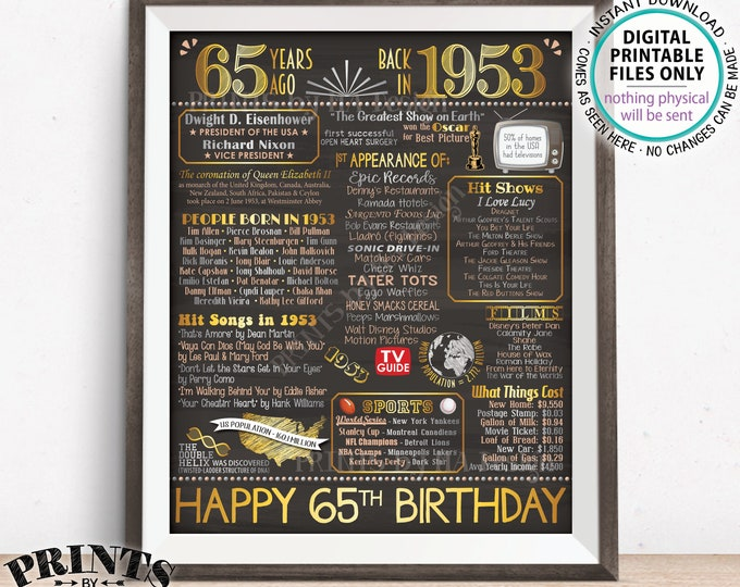 """65th Birthday Gift, Born in 1953 Birthday Flashback 65 Years Back in 1953 B-day, Gold, PRINTABLE 8x10/16x20"""" Chalkboard Style Sign <ID>"""