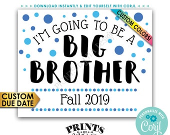 "Baby #2 Pregnancy Announcement Sign, I'm Going to Be a Big Brother, PRINTABLE 8x10/16x20"" Baby Number 2 Sign <Edit Yourself with Corjl>"