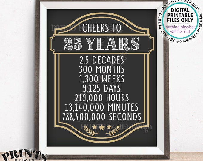 """Cheers to 25 Years, 25th Birthday Sign, Cheers & Beers, 25th Anniversary, Beer Party Sign, Retirement Party, PRINTABLE 8x10/16x20"""" Sign <ID>"""