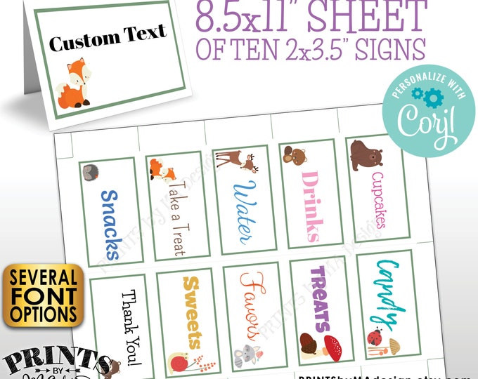 """Woodland Animals Place Cards, Buffet Food Labels, One PRINTABLE 8.5x11"""" Sheet of 2x3.5"""" Labels <Edit Yourself with Corjl>"""