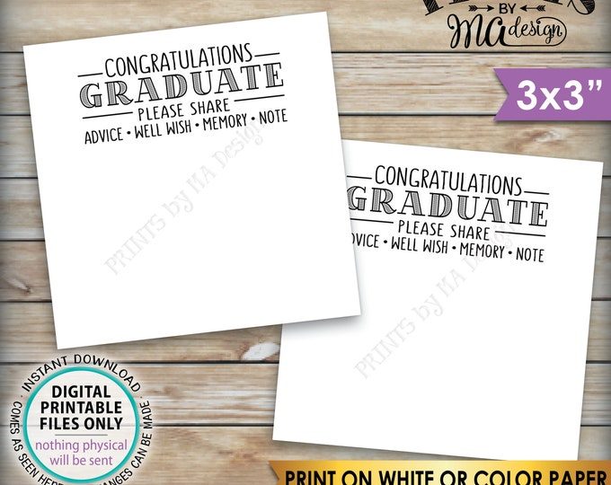 "Graduation Advice Cards, Congratulations Graduate, Memory, Advice, Well Wishes, Graduation Party, 3"" cards on PRINTABLE 8.5x11"" Sheet <ID>"
