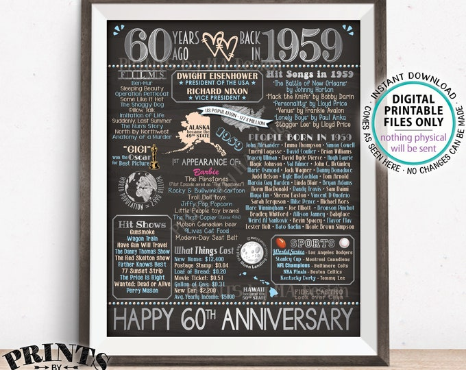 "60th Anniversary Gift, Married in 1959 Anniversary Flashback 60 Years Back in 1959, Silver, PRINTABLE 16x20"" Sign <ID>"