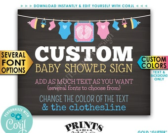 """Custom Baby Theme Chalkboard Style Baby Shower Sign, Choose Your Text, 1 PRINTABLE 8x10/16x20"""" Landscape Poster <Edit Yourself with Corjl>"""