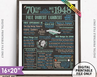 """70th Birthday Gift, 1948 Birthday Poster, Back in 1948 Flashback 70 Years Ago, 1948 Bday, Chalkboard Style PRINTABLE 8x10/16x20"""" 1948 Poster"""