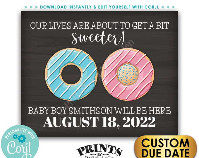 """It's a BOY Donut Pregnancy Announcement Sign, PRINTABLE Chalkboard Style 8x10/16x20"""" Gender Reveal Sign <Edit Yourself with Corjl>"""