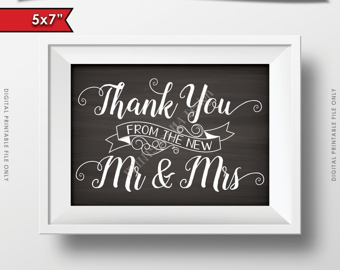 "Wedding Thank You from the New Mr and Mrs, Thanks Sign Chalkboard Thank You Wedding, 5x7"" Instant Download Digital Printable File"