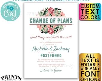 Wedding Postponed Announcement, Editable Change the Date Card, Custom Digital Printable File, Wedding Update <Edit Yourself w/Corjl>
