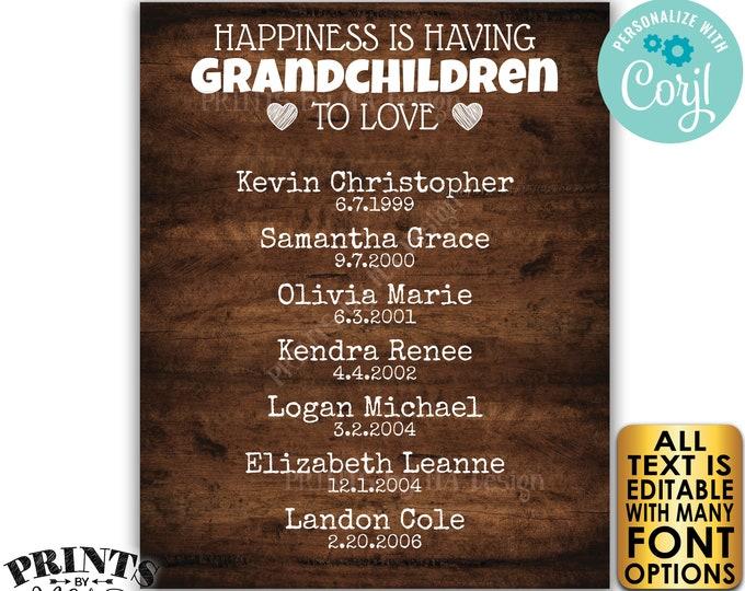 Grandparent Gift for Grandparents Grandma Grandpa, List of Grandkids, PRINTABLE Rustic Wood Style Grandchildren Sign <Edit Yourself w/Corjl>
