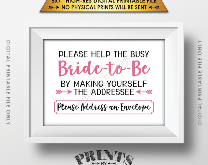 "Address Envelope Bridal Shower Sign Addressee Help the Bride by Addressing an Envelope, Pink & Black, Instant Download 5x7"" Printable Sign"