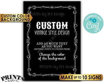 "Custom Vintage Style Sign, Better with Age Liquor Themed Party, Color Background, Up to 10 PRINTABLE 5x7"" Signs <Edit Yourself with Corjl>"
